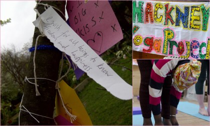 Hackney Yoga Project. Wish Tree, forward fold and banner
