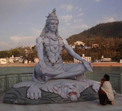 Shiva Statue on the banks of the Ganges , Rishikesh India.