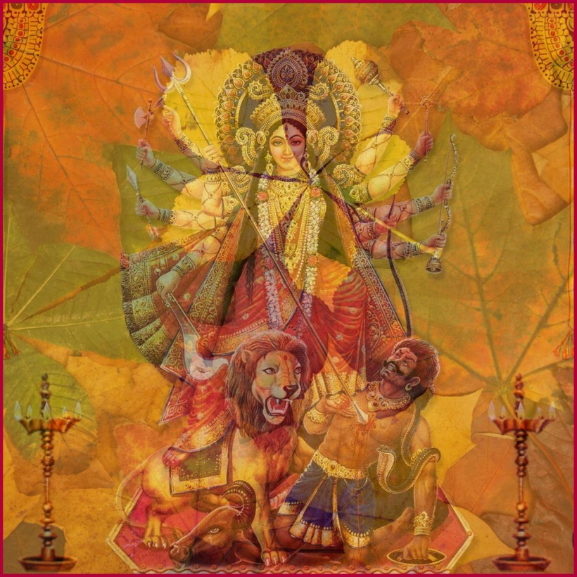 Durga: Goddess of Autumn, kills the demon Mahishasura